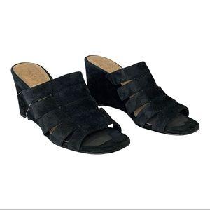 Halogen Annabelle Wedge Slide Sandal Black Suede